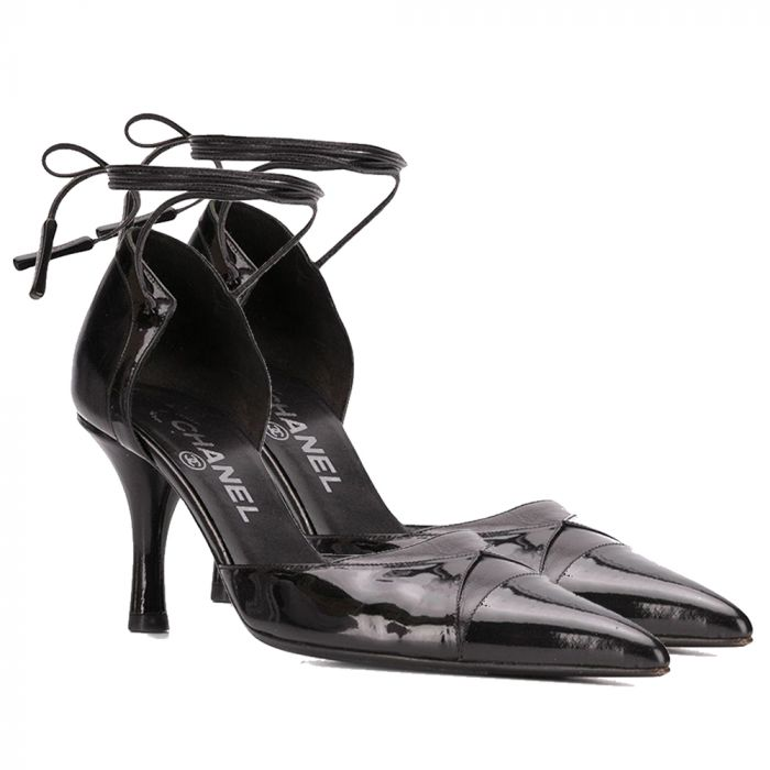 Chanel Pointed Black Leather Pumps SOLD