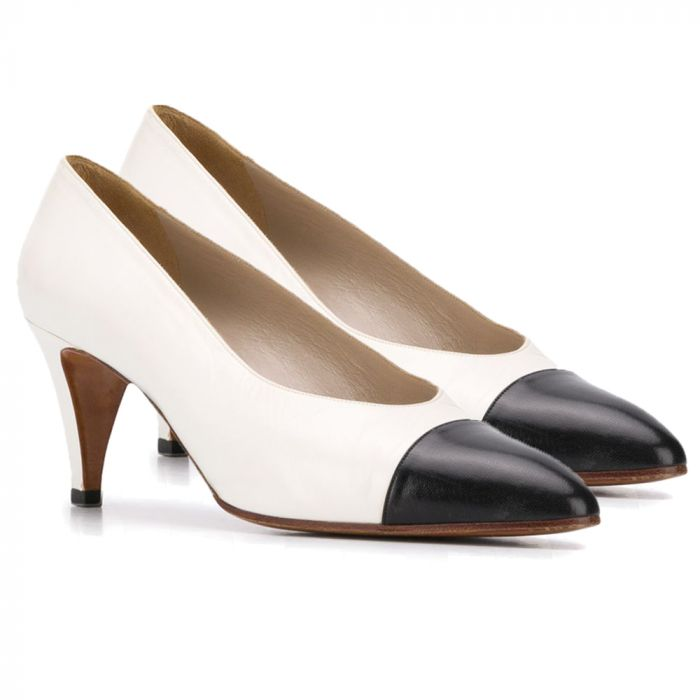 Chanel White & Black Leather Pumps SOLD