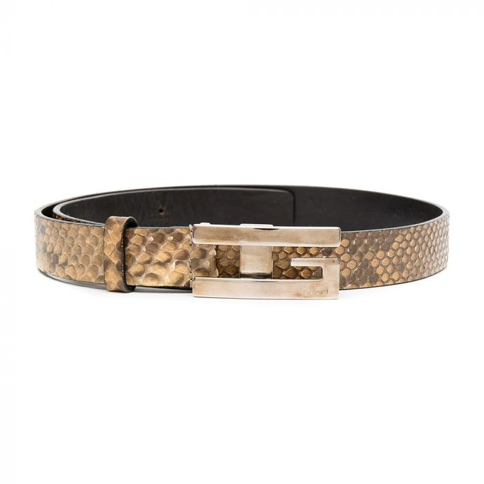 Gucci Snake-print Mini GG Buckle Belt