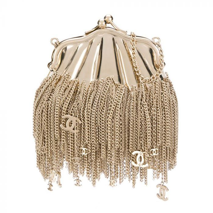 Chanel Gold Chain Tassel Shell Coin Purse SOLD