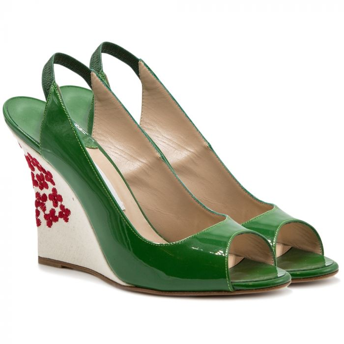 Manolo Blahnik Green Sling Backs