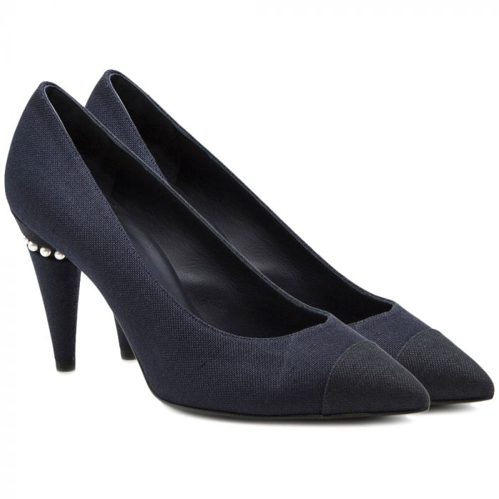 Chanel Navy Pearl Pumps