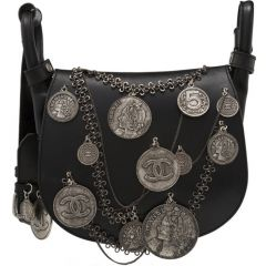 Chanel Black Leather Medallion Coins Saddle Bag