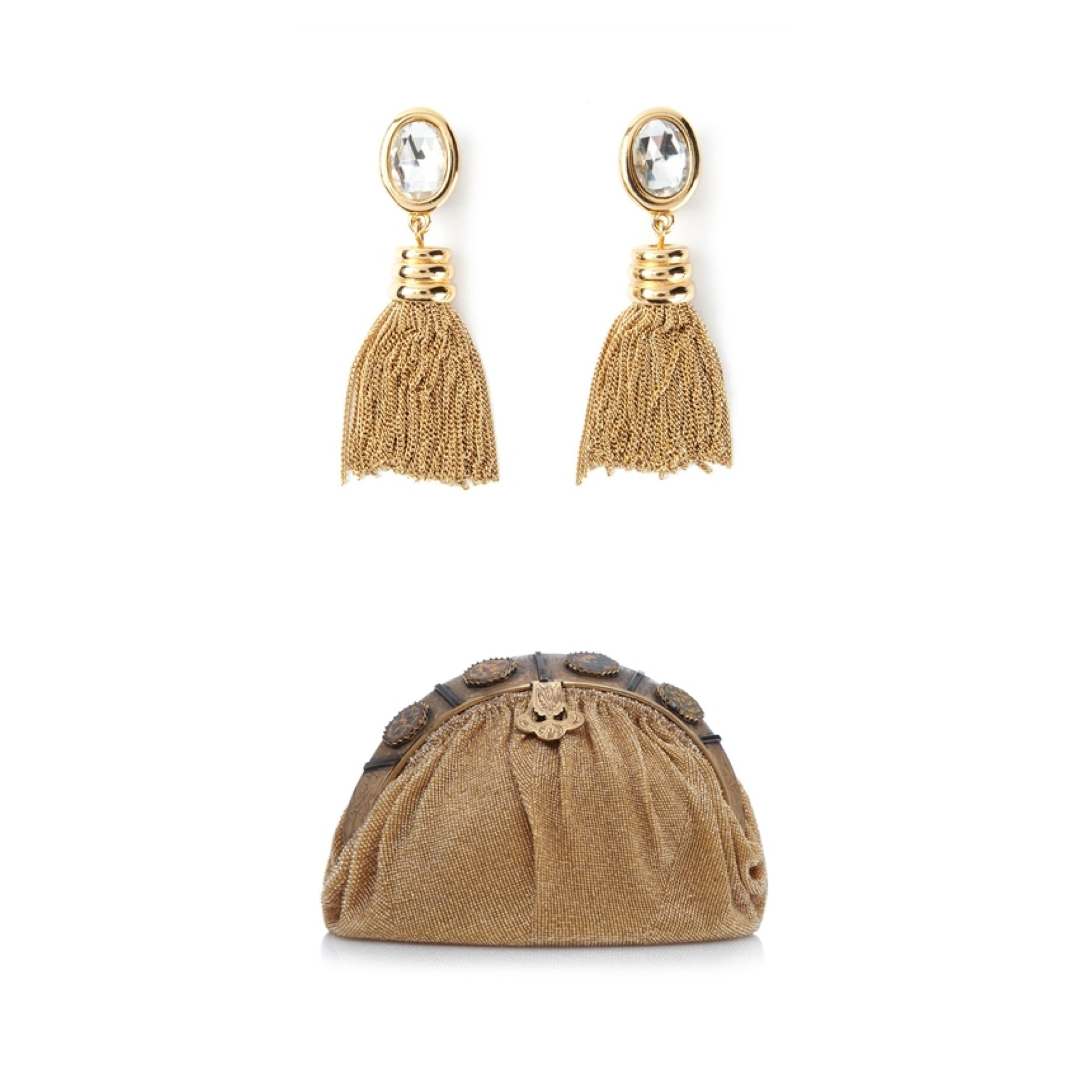 Gold Givenchy Vintage earrings Gold beaded 1940s clutch