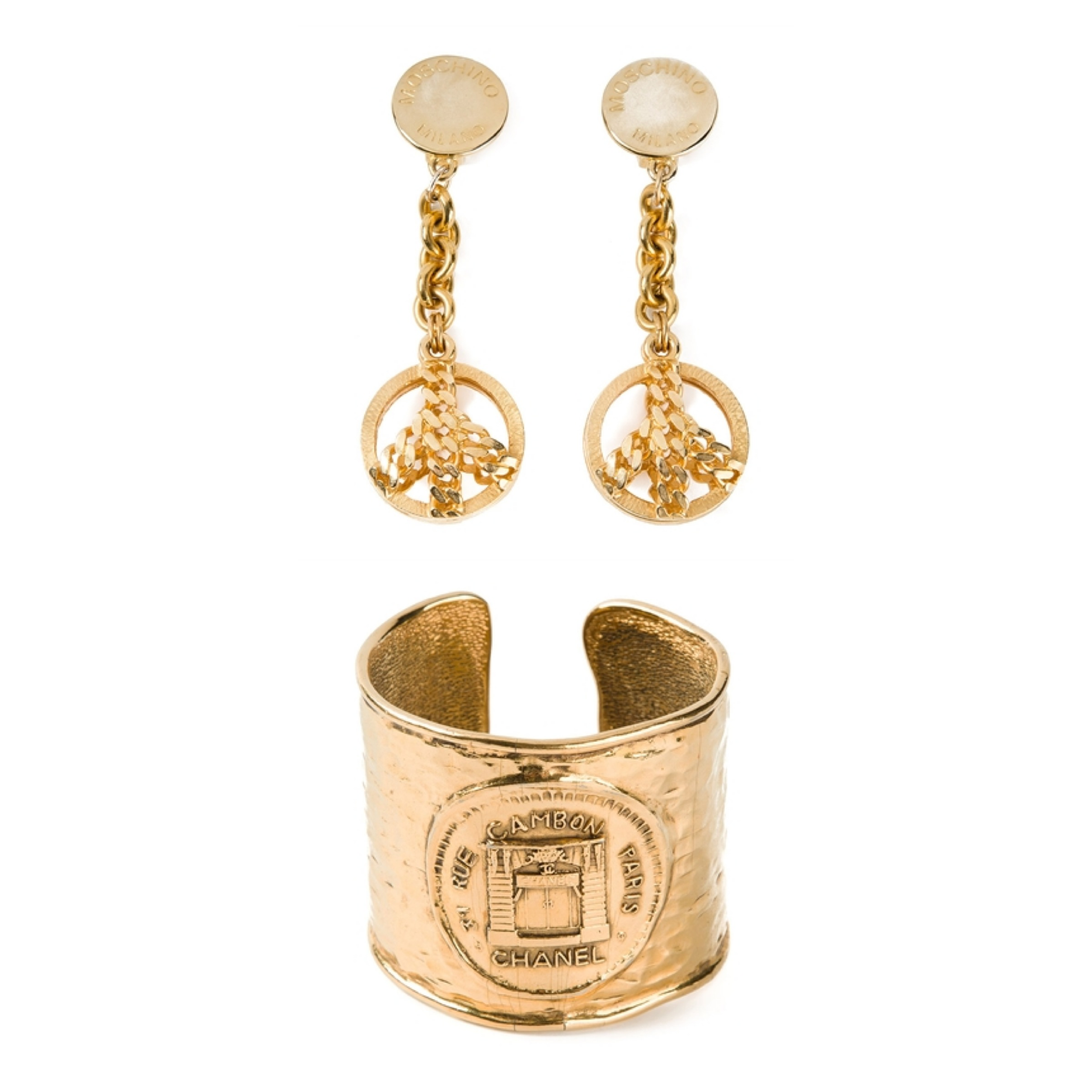 Gold Moschino Vintage Drop earrings Chanel logo cuff