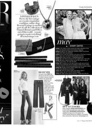 Rewind featured in Harpers Bazaar magazine black and white