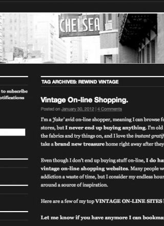 Rewind Vintage featured in Chelsea Girl blog black and white