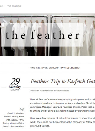 Rewind Vintage featured in Feathers Fashion blog