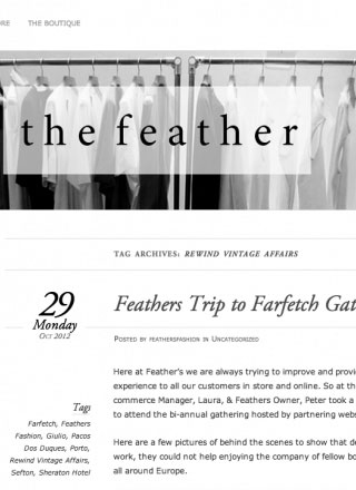 Rewind Vintage featured in Feathers Fashion blog black and white