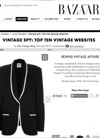 Rewind Vintage featured in Harpers Bazaar magazine black and white