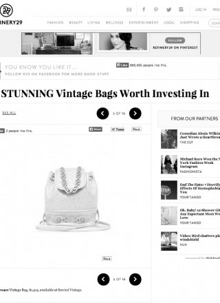 Rewind Vintage featured in Refinery 29 online magazine black and white