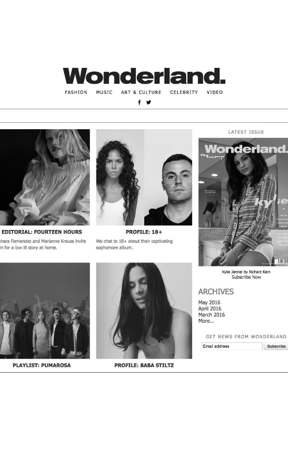 Rewind featured in Wonderland magazine black and white