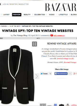 Rewind Vintage featured in Harpers Bazaar magazine