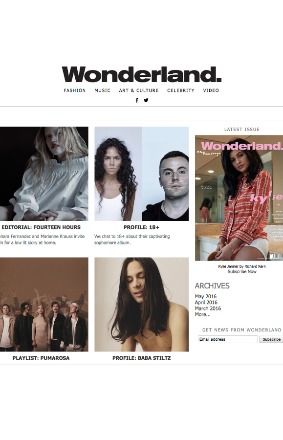 Rewind featured in Wonderland magazine